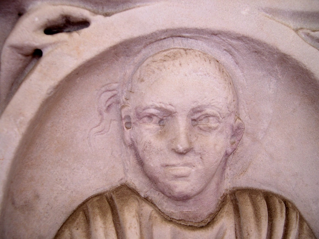 Detail of a Roman season sarcophagus with recut portrait. Middle of the third century AD. Rome, Baths of Diocletian.