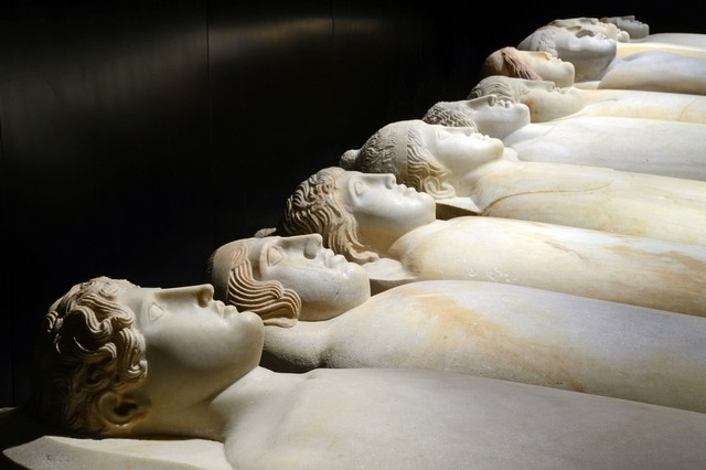 Anthropoid sarcophagi in the National Museum of Beirut.  Photo Anne-Marie Afeiche.
