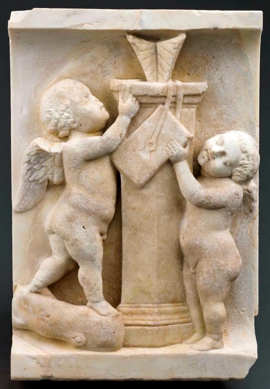 Fragment of a Roman sarcophagus showing Cupids playing with a sundial (140-160 AD), marble (courtesy Musée du Louvre, Paris, Département des Antiquités grecques, étrusques et romaines, © RMN-Grand Palais / Hervé Lewandowski Art Resource, NY).